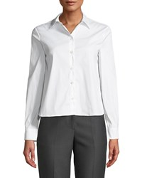 Emporio Armani Button Front Long Sleeve Stretch Poplin Shirt W Pleated Back White