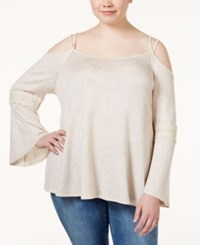 Stoosh Plus Size Bell Sleeve Cold Shoulder Knit Top Pale Peach