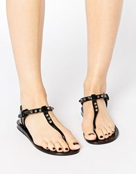 Religion Solitary Stud Toe Post Jelly Flat Sandals Black
