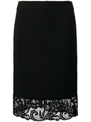 Versace Lace Trim Pencil Skirt Black