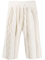 Laneus Knitted Panel Style Shorts Neutrals
