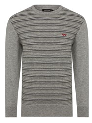 Wolsey Merino Stripe Crew Neck Pull Over Jumpers Grey