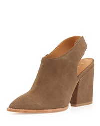 Bettye Muller Kat Suede Leather Slingback Bootie Taupe