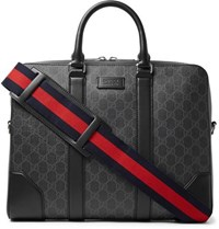 Gucci Leather Trimmed Monogrammed Coated Canvas Briefcase Black