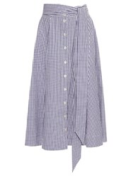 Lisa Marie Fernandez Checked Button Up A Line Cotton Skirt Navy