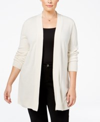 Karen Scott Plus Size Open Front Cardigan Only At Macy's Oatmeal Heather