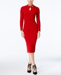 Xoxo Juniors' Embellished Keyhole Bodycon Dress Red