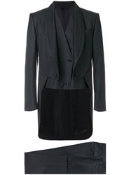 Dolce And Gabbana Three Piece Dinner Suit Men Silk Polyester Viscose Virgin Wool 50 Black