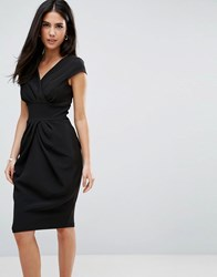 Closet London Pencil Dress With Ruched Front Black