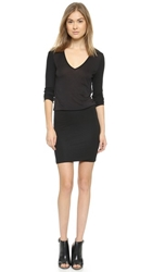 Lanston Ribbed V Neck Mini Dress Black