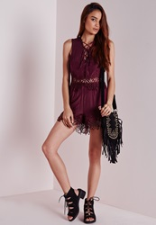 Missguided Lace Up Crochet Trim Playsuit Oxblood Red