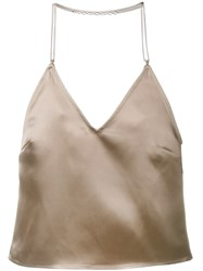 Barbara Casasola Chain Strap Slip Top Brown
