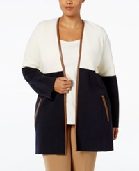 Charter Club Plus Size Milano Colorblocked Duster Cardigan Only At Macy's Vanilla Bean Combo