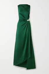 Monse Cutout Draped Satin Jersey Gown Forest Green