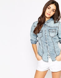Brave Soul Snow Wash Long Sleeve Denim Shirt Snowwashdenim