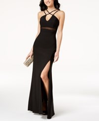 Emerald Sundae Juniors' Strappy Illusion Gown Black