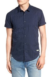 Scotch And Soda Men's Regular Fit Print Woven Shirt Blue
