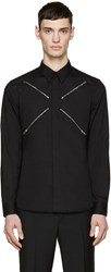 Givenchy Black Poplin Zipper Shirt