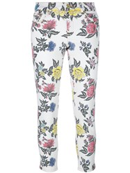 House Of Holland Roses Print Skinny Jeans White