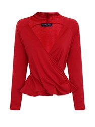 Hotsquash Crossover Top In Thinheat Fabric Red