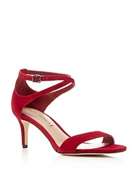 Via Spiga Leesa Criss Cross Ankle Strap Mid Heel Sandals Rich Poppy