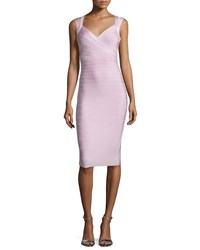 Herve Leger Sleeveless V Neck Bandage Dress Peony Pink
