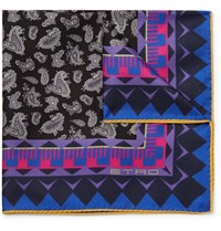 Etro Paisley Print Silk Twill Pocket Square Black