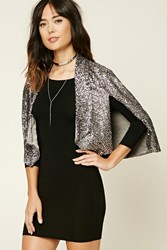 Forever 21 Contemporary Sequin Cape Blazer Gunmetal