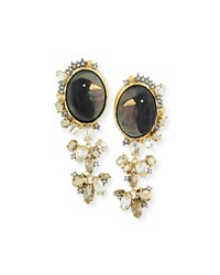 Elements Carved Raven Cameo Clip On Earrings Alexis Bittar 14K Gold Rutheium