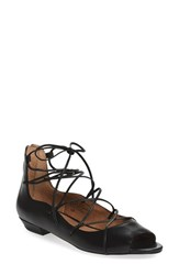Women's Sey Collection 'Enamour' Open Toe Ghillie Flat Black Leather