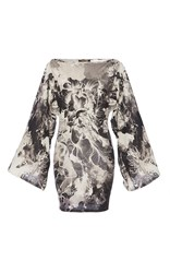 Roberto Cavalli Black Kimono Floral Printed Wool Knit Dress