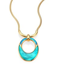 Maiyet Orbit Mother Of Pearl And Enamel Pendant Necklace Gold Blue