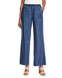 Xcvi Giorgina Wide Leg Chambray Pants Blue