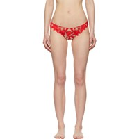 Fleur Du Mal Red Lilly Embroidery Hipster Thong