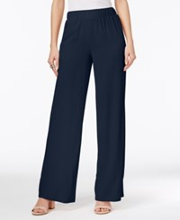Inc International Concepts Crepe Wide Leg Pants Only At Macy's Deep Twilight