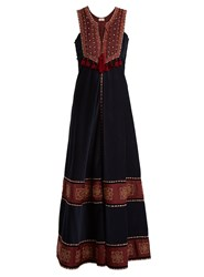 Talitha Embroidered Contrast Panel Corduroy Dress Navy Multi