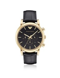 Emporio Armani Luigi Goldtone Stainless Steel Men's Watch W Black Dial