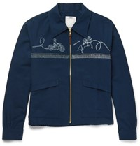 Visvim Slim Fit Printed Cotton Blend Western Jacket Navy