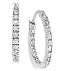 B. Brilliant Sterling Silver Earrings Cubic Zirconia Hoop Earrings 3 4 Ct. T.W.