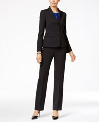 Le Suit Three Piece Two Button Texture Weave Pantsuit Black Cobalt