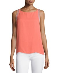 Rebecca Minkoff Mahesh Sleeveless Embroidered Top Coral