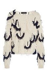 Tabula Rasa Mali Scalloped Fringe Sweater White