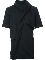 Moohong High Collar Draped Shirt Black