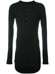 Ann Demeulemeester Long Line Henley Top Black