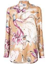 Fausto Puglisi Floral Print Shirt Women Silk 42 Nude Neutrals