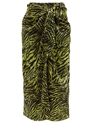 Ganni Knotted Tiger Print Silk Blend Midi Skirt Animal