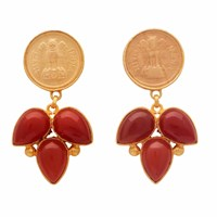 Carousel Jewels Red Onyx Coin Earrings Red Gold
