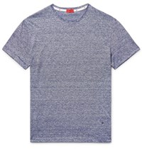 Isaia Space Dyed Knitted Linen And Cotton Blend T Shirt Navy