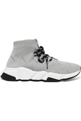 Balenciaga Speed Logo Print Stretch Knit High Top Sneakers Gray
