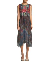 Johnny Was Madeline Sleeveless Mesh Dress W Floral Embroidery Multi